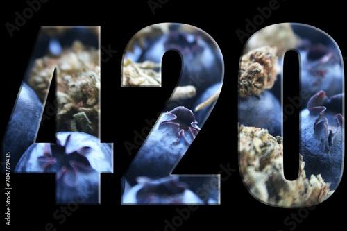 Photo  420 Marijuana Logo With Blueberries & Bud Inside Numbers