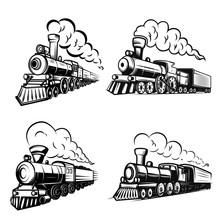 Set Of Retro Locomotives On Wh...