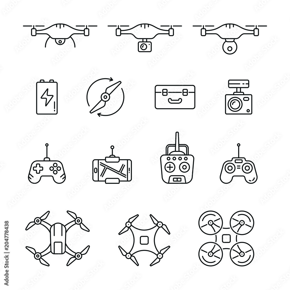 Fototapeta Quadrocopter and flying drone icons: thin vector icon set, black and white kit
