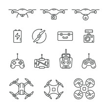 Quadrocopter And Flying Drone Icons: Thin Vector Icon Set, Black And White Kit