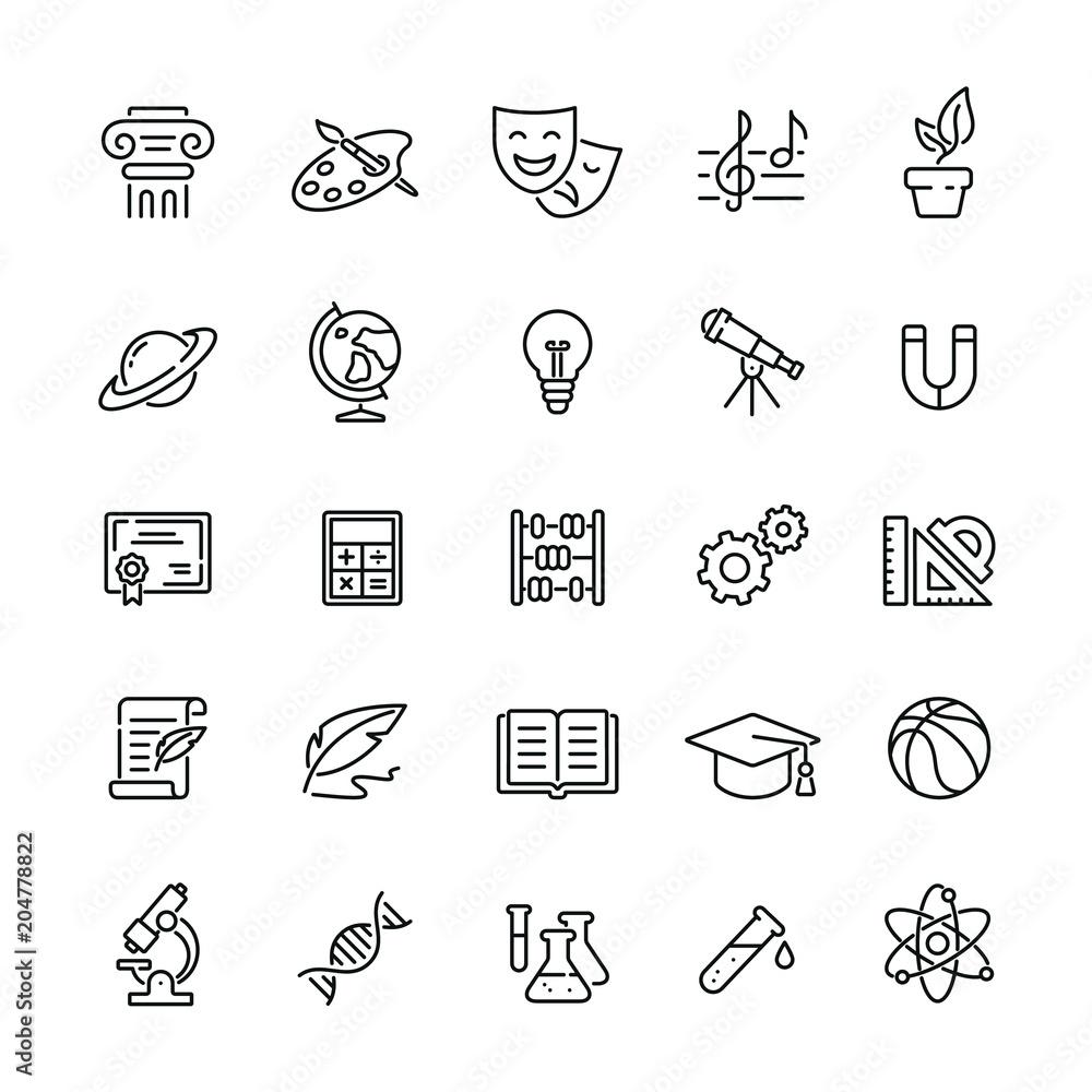 Ikony związane z przedmiotami szkolnymi: cienki wektor zestaw ikon, zestaw czarno-biały