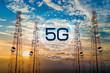Leinwanddruck Bild - 5G Telecommunication tower antenna in morning sky Evening sky