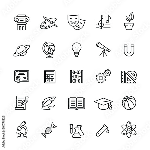 School subjects related icons: thin vector icon set, black and white kit Fototapete