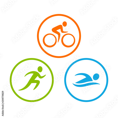 Photo Triathlon symbols set