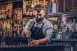 canvas print picture - Stylish brutal barman in a shirt and apron makes a cocktail at bar counter background.