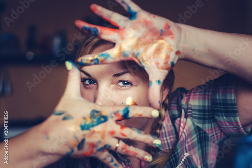 Portrait of an attractive female artist.