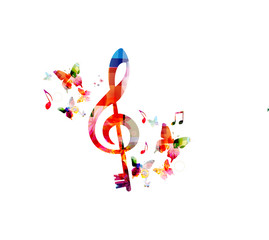 Fototapeta Music colorful background with G-clef and music notes vector illustration design. Music festival poster, creative music notes isolated