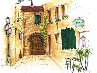 Fototapeta Optyczne powiększenie Elements of Venice, Italy. Painted sketch, art work.