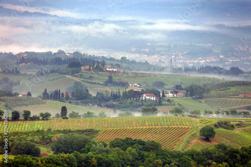 Foto op Canvas Pistache Foggy summer landscape in Tuscany, Italy, Europe
