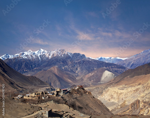 Wall Murals Nepal Jarkot village in Mustang district, Annapurna conservation area, Nepal Himalayas