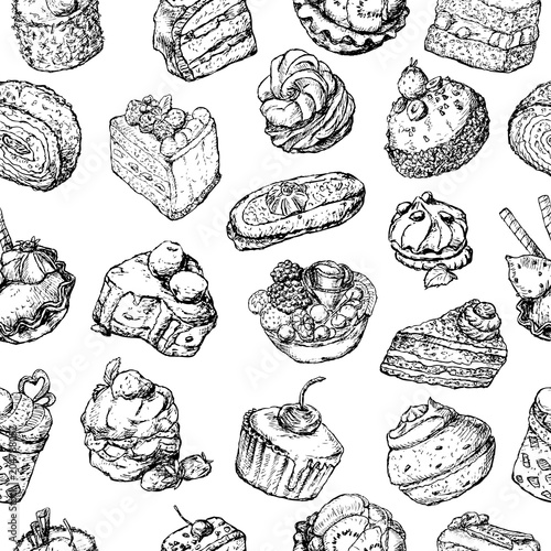 Cotton fabric Seamless background of the various cakes sketches