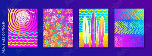 Set of summer holidays and vacation hand drawn multicolored background for posters or greeting card. Vector illustration.