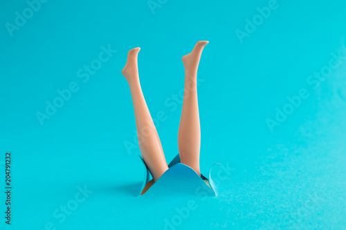 Photographie  Diving comic creative abstract summer vacation concept.