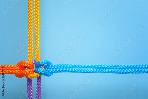 Fotografiet  Different ropes tied together with knot on color background