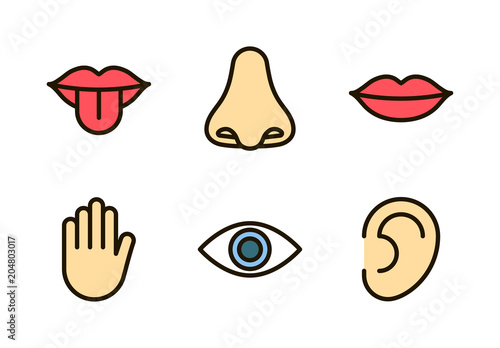 Foto  Outline color icon set of five human senses: vision (eye), smell (nose), hearing (ear), touch (hand), taste (mouth with tongue)
