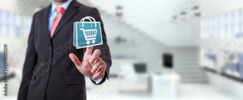Fotobehang Edelsteen Businessman using digital shopping icons 3D rendering
