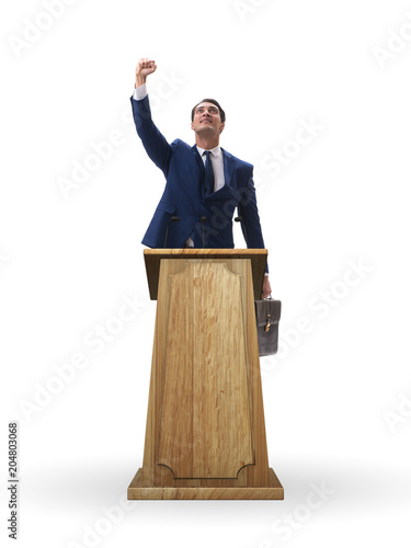 Foto Businessman making a speech in business concept