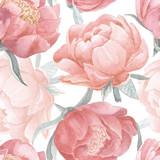 Piwonia kwiat akwarela bezszwowe wzór. Ręcznie malowane rocznika kwiatowy bezszwowe tło. - 204810013