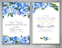 Set Of Templates For Greetings Or Invitations To The Wedding.  Illustration By Markers, Beautiful Composition Of Hydrangea And Leaves. Imitation Of Watercolor Drawing.