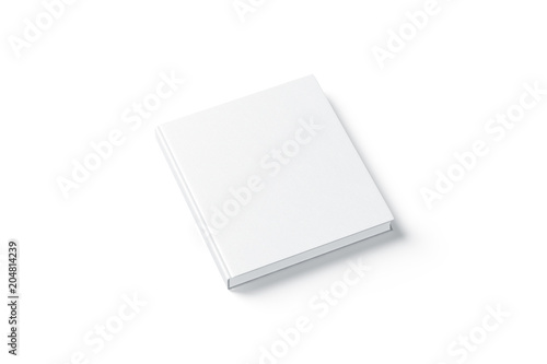 Blank white square hardback book mock up, side view, isolated, 3d rendering Billede på lærred