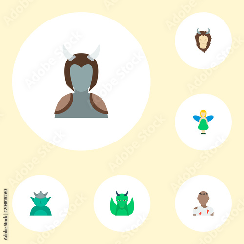 Set of character icons flat style symbols with dragon