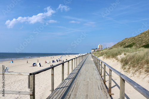Wooden walkway along the beach in Westerland, Sylt