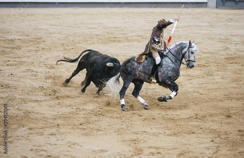 Foto op Aluminium Stierenvechten Corrida. Matador and horse Fighting in a typical Spanish Bullfight
