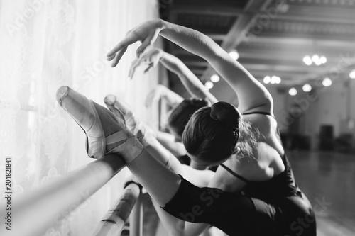 Obraz na płótnie three young cute ballerinas perform exercises on a choreographic machine or barr