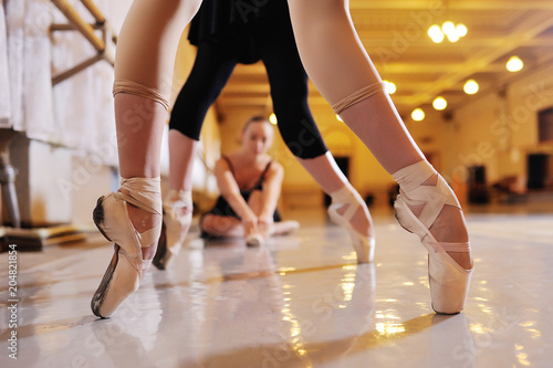 three young cute ballerinas perform exercises on a choreographic machine or barr Wallpaper Mural