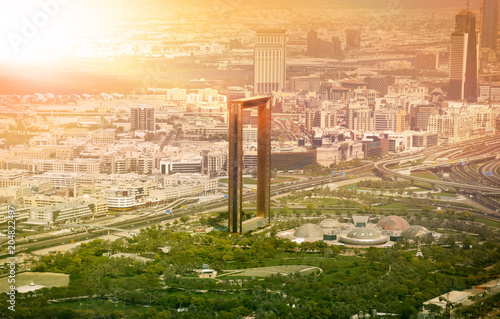 Dubai skyline with Dubai Frame building at sunset