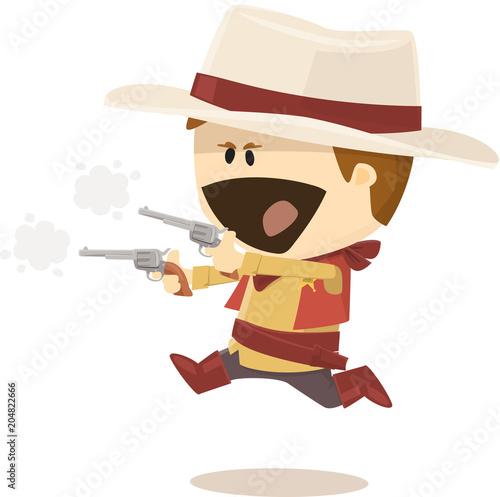 Foto shérif poursuivant un bandit cow-boy