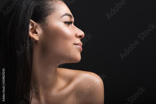 Fényképezés Close up profile of smiling lady having her locks down