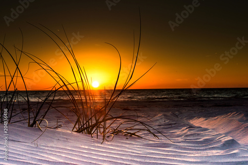 Sand dunes at the beach, sunset