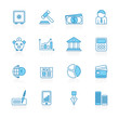 Line with blue background Business, Banking and Finance Icons - vector icon set
