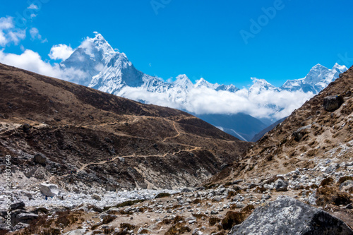 Ama Dablam mountain range, way from Dingboche to Lobuche, Everest base camp trek плакат