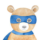 Cute brown teddy bear wearing blue superhero mask. Happy, smiling, soft. Hand painted water color drawing on white background, isolated. Children room art poster, greeting card, printable decoration. - 204838419