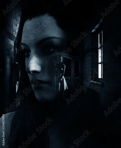 3d rendering of a woman is trying to survive in haunted house,book cover ideas Canvas Print