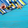 Beach scene with blue decking