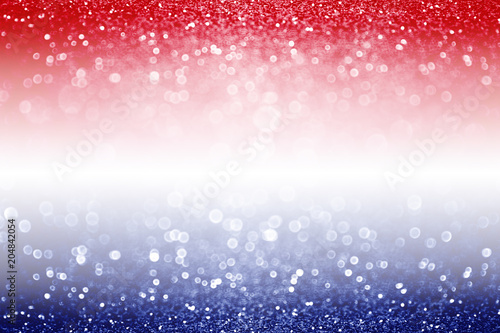 Fotografie, Obraz  Abstract patriotic red white and blue glitter sparkle background for voting, mem