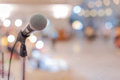 Fotografie, Obraz  Close up microphone in conference hall