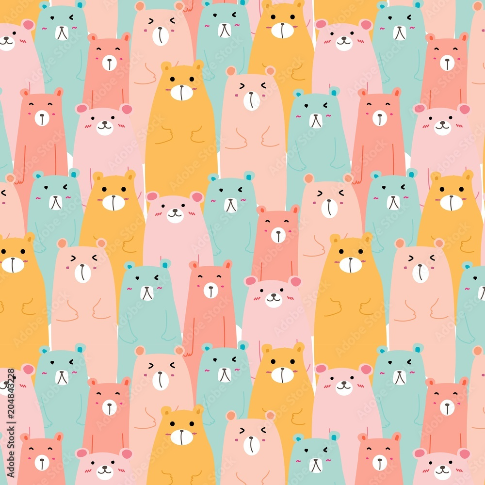 Obraz na plátně Hand Drawn Cute Bears Vector Pattern Background