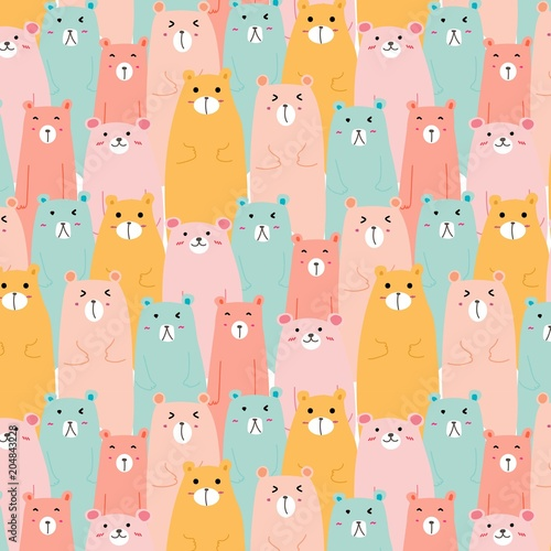 Hand Drawn Cute Bears Vector Pattern Background Tableau sur Toile