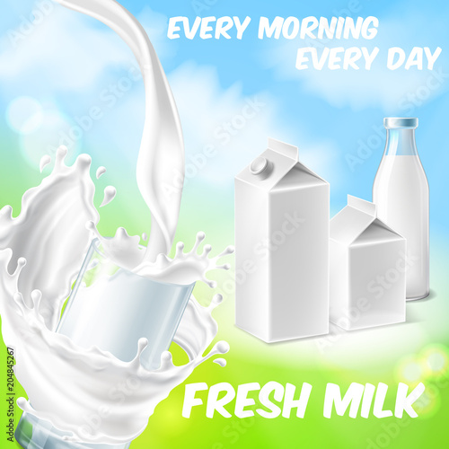 Valokuva  Vector colorful background with fresh milk, pouring in drinking glass and splashing