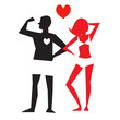 Male and female icons isolated on white background. Romantic sign of a couple in love. Vector illustration.