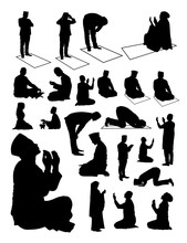 Silhouette Of Muslim Praying. ...