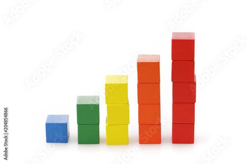 Fényképezés  グラフ ビジネスイメージ Block graph business concept