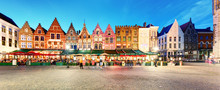 Bruges - Panorama Of Market Place At Night, Belgium