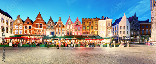 In de dag Brugge Bruges - Panorama of Market place at night, Belgium