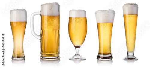 Photo sur Aluminium Biere, Cidre set of beer Glass