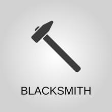 Blacksmith Icon. Blacksmith Symbol. Flat Design. Stock - Vector Illustration